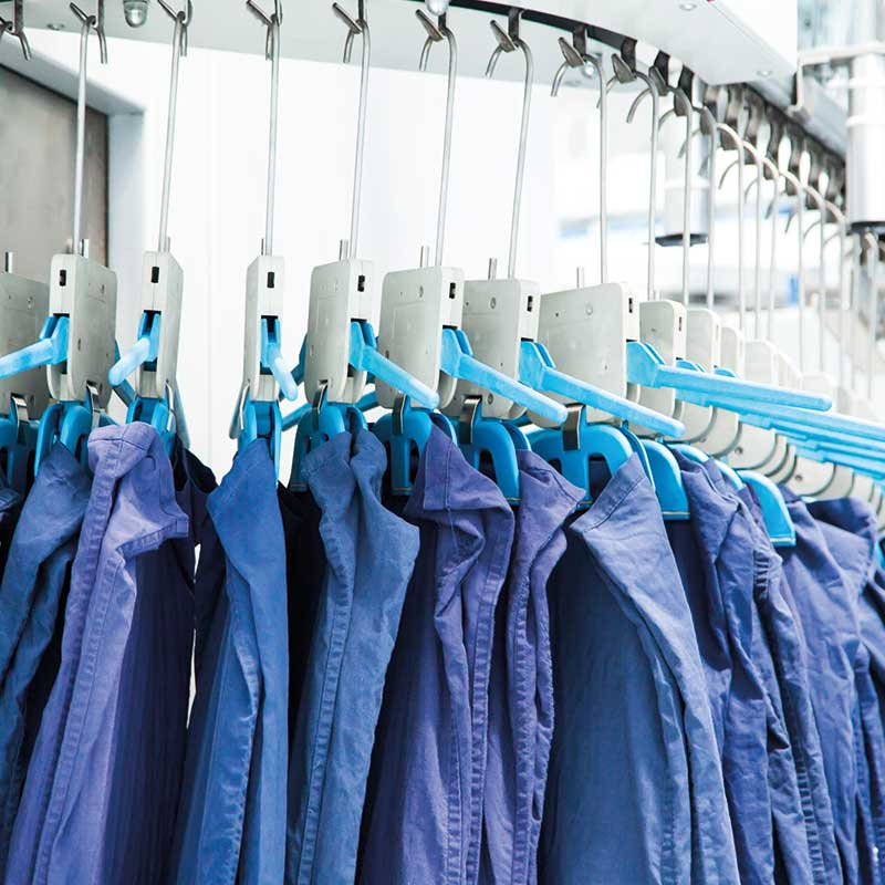 Commercial laundry drying rail.